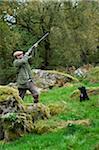 Pays de Galles, Snowdonia ; GILAR ferme. Un homme avec son chien à la chasse.