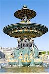 France, Paris, place de la concorde, fountain of the seas