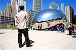 United States, Illinois, Chicago, Millennium park, Cloud gate (the bean)