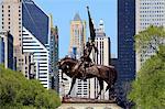 États-Unis, Illinois, Chicago, Grant Park, statue de John Logan général