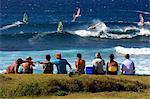 United States, Hawaii, island of Maui, beach of Hoopika, surfers
