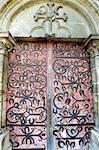 France, Burgundy, door of the church, horseshoe