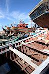 Morocco, Agadir, the port, boats under construction
