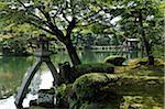 Kotoji-toro Stone Lantern in Kenroku-en Garden, Kanazawa, Ishikawa Prefecture, Chubu Region, Honshu, Japan