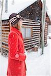Femme en rouge manteau, Frisco, Summit County, Colorado, Etats-Unis