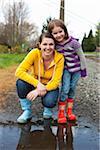 Mère et fille porter Rain Boots