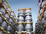 Stacked beer barrels