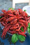 A dish of crayfish, close-up.