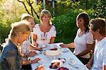 Five friends having a cake during midsummer, Stockholm archipelago, Sweden.