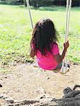 Girl Swinging In Park