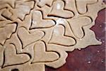 Heart shape cookies in dough