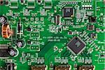 Une carte mère ordinateur, gros plan, full frame, directement au-dessus de