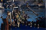 Aigles à tête blanche se rassemblent en masse pour choisir les morceaux de poisson d'un bateau de pêche commerciale net à bord d'un petit chalutier (également appelé un chalutier à pêche arrière), sud-ouest de l'Alaska, hiver
