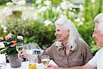 Couple senior, boire du vin à table dans le jardin