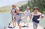 Kids running on deck