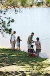 Family fishing lakeside