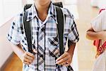 Happy Smiling Boy With School Bag