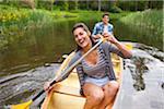 Couple Canoeing, Columbia River Gorge, Oregon, USA