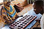 Couple Playing Bao, Zanzibar, Tanzania, Africa
