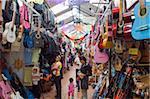 Guitars for sale in market, Mercado de Dulces, Morelia, Michoacan state, Mexico, North America