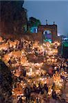 A candle lit cemetery, Dia de Muertos (Day of the Dead) festival in a cemetery on Isla Janitzio, Lago de Patzcuaro, Michoacan state, Mexico, North America