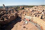 Vue de la Piazza del Campo de la tour du Mangia, Sienne, patrimoine mondial de l'UNESCO, Toscane, Italie, Europe