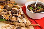 Dried mushrooms, ceps, morels, shitake and chanterelles, Italy, Europe