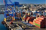 Kran in den Containerhafen, Valparaiso, Chile, Südamerika