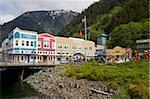 Quai de magasins sur le populaire, Juneau, sud-est de l'Alaska, aux États-Unis, en Amérique du Nord