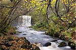 Sgwd yr Eira waterfall on the Afon Mellte river near Ystradfellte, Brecon Beacons National Park, Powys, Wales, United Kingdom, Europe