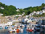 Fishing boats in Polperro Harbour, Polperro, Cornwall, England, United Kingdom, Europe