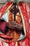 Coptic Orthodox priest holding a cross, Addis Ababa, Ethiopia, Africa