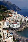 Vue d'Amalfi de la côte, la côte amalfitaine, patrimoine mondial de l'UNESCO, Campanie, Italie, Europe