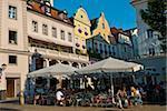 Street cafe, Regensburg, Bavaria, Germany, Europe