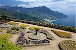 Vue depuis les jardins de la Villa Rufolo, Ravello, Amalfi, UNESCO World Heritage Site, Campanie, Italie, Europe