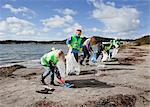 Groupe des travailleurs, nettoyage de plage