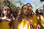 Australia, Queensland, Laura.  Young indigenous dancers at the Laura Aboriginal Dance Festival.
