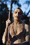 Australia, Queensland, Laura.  Indigenous dancer from the Lockhart River community at the Laura Aboriginal Dance Festival.