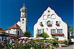 Château et le clocher à Wasserburg, lac de Constance, Bavière, Allemagne