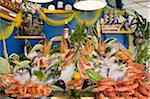 Poissons et fruits de mer dans une taverne à Rethymnon, Crète, Grèce