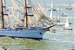 NRP Sagres, Tall ships regatta along the Tagus river (rio Tejo). Lisbon, Portugal