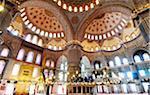 L'intérieur de la mosquée du Sultan Ahmed (Mosquée bleue), par l'architecte Mimar Sinan, maintenant un Site de patrimoine mondial de l'UNESCO. Istanbul, Turquie