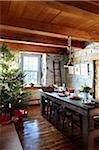 Salle décorée pour Noël