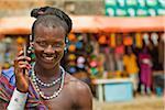 Masai Warrior Using Cell Phone