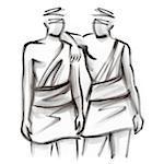 Gemini astrological sign, illustration