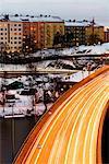 Traffic in winter, Stockholm, Sweden.