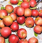 Äpfel, die auf dem Papier angeordnet