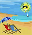 Beach chairs on beach with sun.