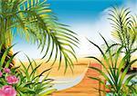 Footbridge on the beach - Highly detailed cartoon background 19 - illustration