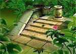 Old steps in jungle - Highly detailed cartoon background 43 - illustration